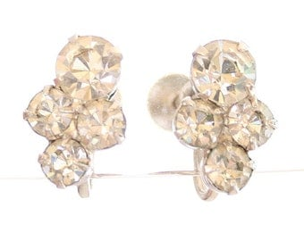 Clear Rhinestone Earrings Vintage Formal Wedding Bride Cluster Screw Back Elegant Hollywood