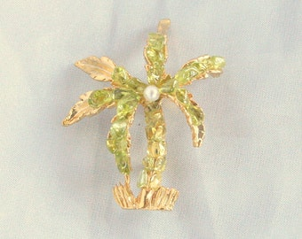 Palm Tree Olivine Brooch Vintage Peridot Rough Pin Hawaiian Volcanic Green Lava Gem