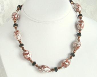 Aventurine Glass Bead Necklace Vintage Venetian Choker White Black Bronze Gold Adjustable