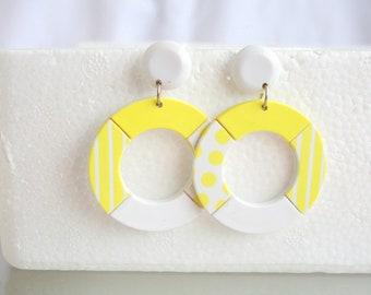 Yellow White Hoop Earrings Pierced Vintage Polka Dot Stripe Door Knocker