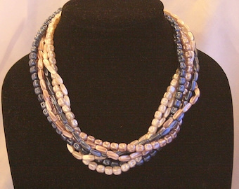 Blue Platinum White Necklace Multi Strand Vintage Beaded Abstract Shaped Lightweight Hong Kong
