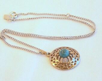 Blue Agate Pendant Necklace Vintage Sarah Coventry Silvertone