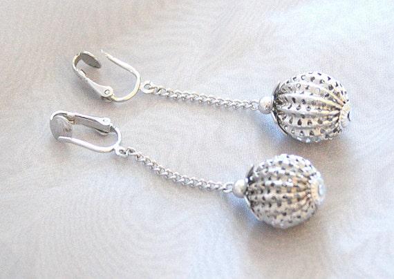 Vintage Silver Sarah Coventry Earrings Filigree Sphere Dangle Drops  CIJ Sale