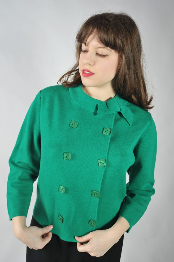 BLACK FRIDAY SALE - Vintage 1960s Sweater - Cute Double Breasted Green Wool Cardigan Sweater