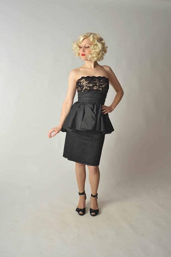 Vintage 1980s Dress //  Nude Illusion 50s Style Peplum Party Dress