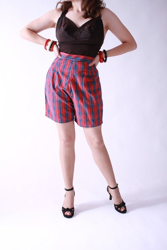 Vintage 1950s Shorts - 50s High Waist Red Plaid Cotton Shorts