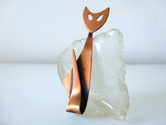 Modernist Copper Cat Pin Kim Craftsmen