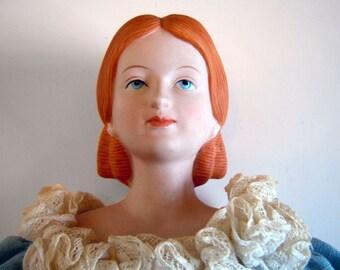 1977 Porcelain Doll Little Women Meg March Louisa May Alcott Book Bisque Head