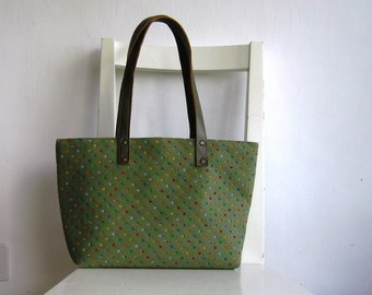 Chic Olive Green Punched Sueded Fabric Hobo