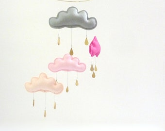 "Nursery cloud mobile "" NAOKO""  by The Butter Flying-Rain Cloud Mobile Nursery Children Decor"