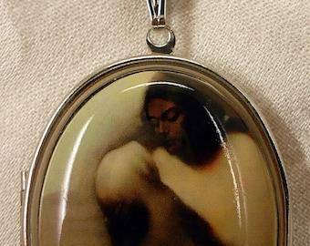 Native American Indian Mother and Child Porcelain Cameo Vintage Locket Necklace Miss-art SparklingTreasures2U