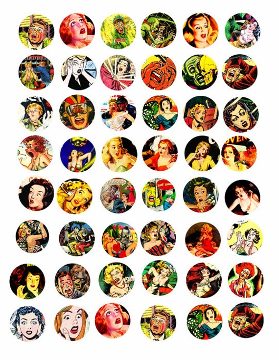 people screaming horror comics art COLLAGE sheet 1 inch circles science fiction digital collage download graphics image printables pendants