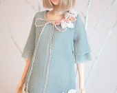 jiajiadoll- ceam blue lace flowered dress fit momoko or misaki or blythe