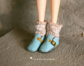 jiajiadoll- Handmade- sky blue leather shoes fits momoko- blythe -Misaki- Unoa light- Lati yellow