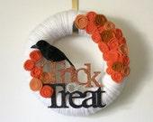 Halloween Wreath, Trick or Treat Wreath, Black Crow Wreath, Raven Wreath, 12 inch Size- LAST ONE