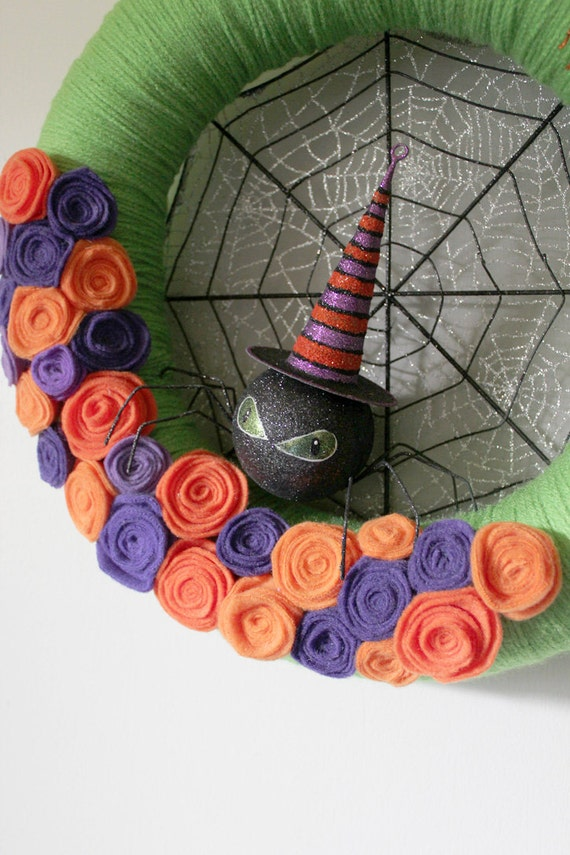 Halloween Wreath, Spider Wreath, Orange, Purple and Green Wreath, Large 14 inch size