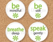 "SALE Two Word Wisdom Magnet Set ""BREATHE"" - Set of 4 - 1.25 inch 1-1/4"" Magnets"