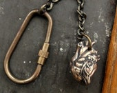 Anatomical Heart  Key Chain in Solid Bronze - An Exclusive Original Moon Raven Design Key Ring 154
