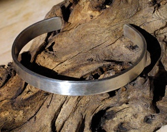 Rustic Mens Classic Sterling Silver Cuff - Cool, Clean and Customizable - Personalize with Text! Hand Stamped Cuff Bracelet