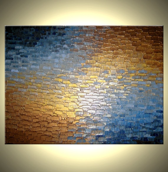 Original abstract gold metallic painting palette by for Gold paintings on canvas
