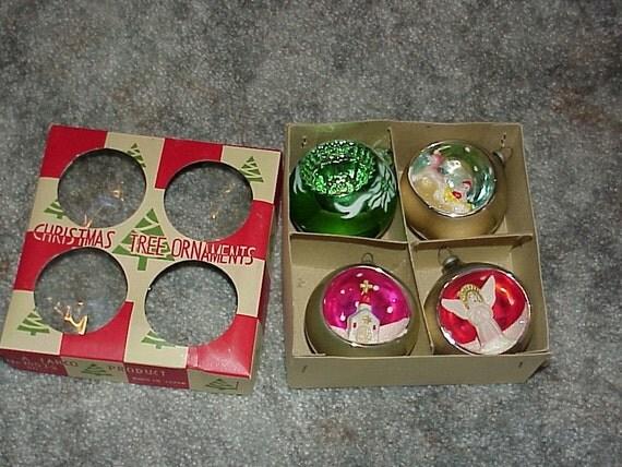 On SALE--4-Vintage Christmas Tree Ornaments--3-Mercury Glass--DIORAMA--3D--Celluloid--1-Indent Vintage Plastic