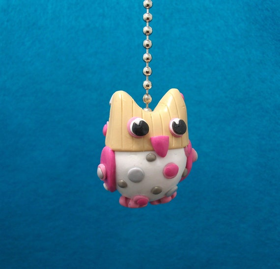Owl Fan pull -  Polymer Clay Custom Ceiling Fan pull