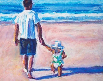 Father Daughter Notecard, holding hands, folded card, blank inside