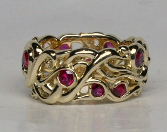 18k Mists of Avalon Band with Rubies Size 7, Width 11mm