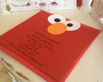 Handmade Custom Elmo Invitations with Envelopes- Set of 10