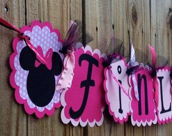 Whimzical Name Banner in Minnie Mouse Pinks