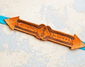 Tooled Leather Belt - Arrow Belt in Tan Leather and Turquoise Suede - Custom Made to Order