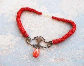 Turquoise Necklace - Chunky Red Pepper Turquoise Necklace - Antique Hardware Collection