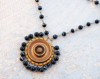 Bohemian Necklace - Antique Hardware and Striped Black Agate - Antique Hardware Collection