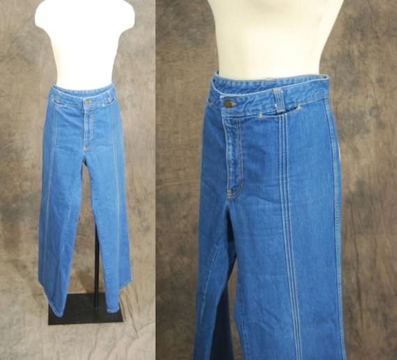 vintage 70s Jeans - Wide Leg Blue Jeans with Pintucks Plus Size Sz 35 36