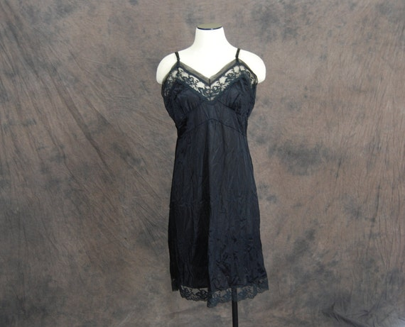 vintage 60s Slip - Black Lacey Full Slip Dress - Deadstock Sz L 40