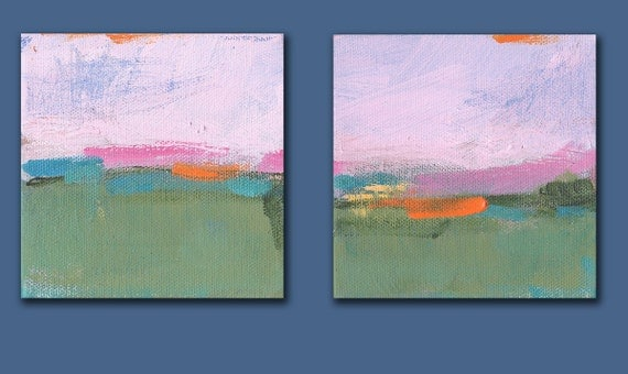 Little Landscape Pair- Each Painting is 4x4 Original Abstract Landscape Painting