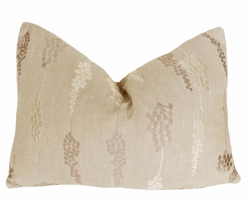 Throw Pillows Taupe : Luxury Taupe Throw Pillow Textured Embroidered Small