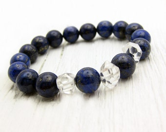 Starry Night Lapis Lazuli Crystal Bracelet / Quartz Crystal / deep cobalt blueberry blue / night sky ocean nautical sailor sea inspired /