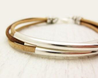 Natural Leather & Silver Bangle Bracelet / brown unisex silver comfort soft / geometric boho bohemian modern stacking bangle