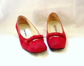 LAURA French Vintage 60s Red Suede with Bow Shoes