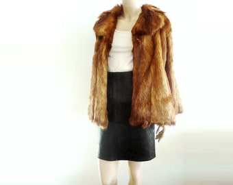 JEANNE French Vintage 50s Genuine Brown Fur Jacket