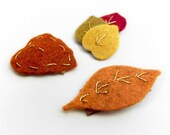 Baby Barrettes, Mini Autumn Leaves Barrettes, Fall Leaves, Baby Snap Clip, Embroidered Felt Leaves