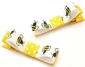 Busy Bee Hair Clips, Bumblebee Tuxedo Bows, One Pair Bee Bows, Ready to Ship Baby, Toddler, Girls, Polka Dots, Black Yellow White, Honey Bee