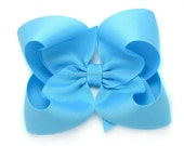 Mystic Blue Boutique Bow,  4 inch Hairbow, Large Grosgrain Bow, Baby, Toddler Hair Bow, Girls Hairbows, Bright Blue