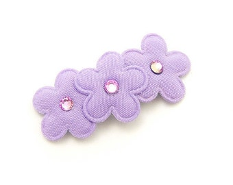 Purple Flower Barrette Lilac Flower Hair Clip Lavender Purple Flowers Orchid Embellished with Swarovski Crystals Baby Toddler 3ft