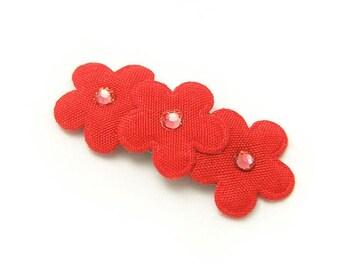 Red Flower Hair Clip, No Slip Baby Barrette, Flower Barrette, Red Flowers, Rhinstones, Baby, Toddler, Girl, 3ft, Red Flower Barrette
