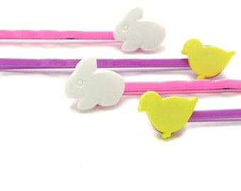 Bunny Bobby Pins, Chick Bobby Pins, Bunny Hair Pins, Chick Hair Pins, Bunnies and Chicks, Woodland, Spring