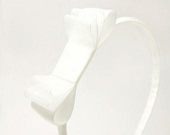 White Bow Headband, Sheer White Satin Headband, Triple Bow Headband, Flower Girl Headband, Satin Bow Headband, Satin and Organza, Wedding