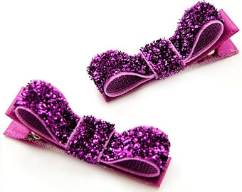 Violet Glitter Hair Clips, Glitter Tuxedo Bows, Sparkly, Fancy, Purple Glitter Hair Bows, Baby, Toddler Girls, Women, One Pair Glitter Clips