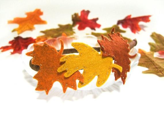 Autumn Leaves Headband, Fall Head Wreath, Felt Oak Leaves Maple Leaves, Fall Headband Red Brown Orange Mustard Yellow